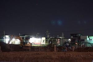 夜の工事現場